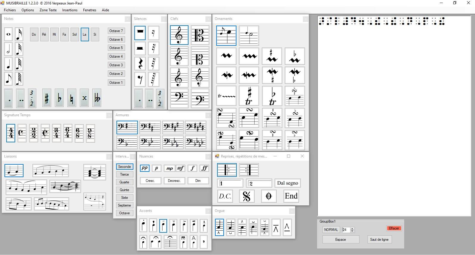 screenshot of Musibraille